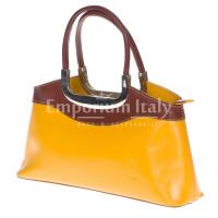Borsa donna in vera pelle RINO DOLFI mod. ROSSELLA colore GIALLO / MARRONE, Made in Italy
