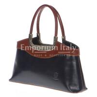 Borsa donna in vera pelle RINO DOLFI mod. ROSSELLA colore BLU / MARRONE, Made in Italy