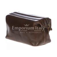 Borsa beauty uomo / donna in vera pelle MAESTRI mod. ENDY colore TESTA DI MORO Made in Italy