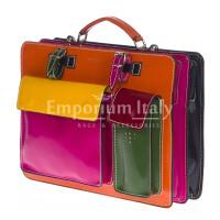 Borsa uomo / donna in vera pelle MAESTRI mod. ELVI medium colore MULTICOLORE Made in Italy