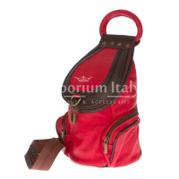 Borsa zaino donna in vera pelle MONTE HALLA, colore ROSSO/TESTA MORO, EMPORIO TITANO, MADE IN ITALY
