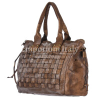 Borsa donna in vera pelle CHIARO SCURO mod. ASIA colore MARRONE Made in Italy