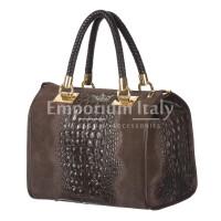 Borsa donna in vera pelle CHIARO SCURO mod. CLIO colore TESTA DI MORO Made in Italy