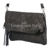 Borsa donna in vera pelle CHIARO SCURO mod. CALIPSO colore NERO Made in Italy