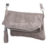 Borsa donna in vera pelle CHIARO SCURO mod. CALIPSO colore GRIGIO Made in Italy