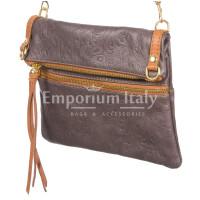 Borsa donna in vera pelle CHIARO SCURO mod. SAMANTHA colore VIOLA Made in Italy