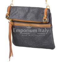 Borsa donna in vera pelle CHIARO SCURO mod. SAMANTHA colore NERO Made in Italy