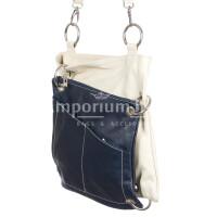 Borsa donna in vera pelle SANTINI mod. SILVIA colore BIANCO BLU Made in Italy