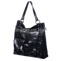Borsa donna in vera pelle MAESTRI mod. BETTY colore NERO Made in Italy