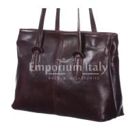 Borsa a spalla da donna in vera pelle MINA MAXI, colore TESTA DI MORO, RINO DOLFI, MADE IN ITALY