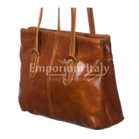 Borsa a spalla da donna in vera pelle MINA SMALL, colore MIELE, RINO DOLFI, MADE IN ITALY