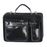 Borsa in vera pelle MAESTRI mod. ALEX piccolo, colore NERO, Made in Italy.