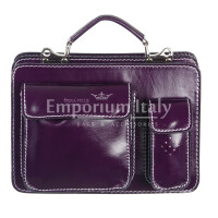Borsa in vera pelle MAESTRI mod. ALEX piccolo, colore VIOLA, Made in Italy.