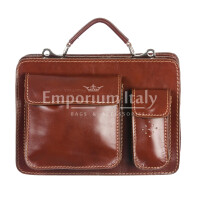 Borsa in vera pelle MAESTRI mod. ALEX piccolo, colore MARRONE, Made in Italy.