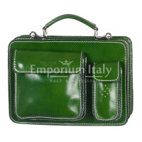 Borsa in vera pelle MAESTRI mod. ALEX piccolo, colore VERDE, Made in Italy.