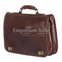Cartella ufficio/lavoro uomo e donna in vera pelle MAESTRI mod. GIORGIO colore TESTA DI MORO Made in Italy.