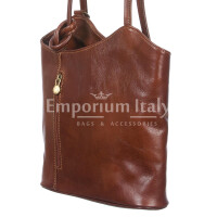Borsa zaino donna  in vera pelle RINO DOLFI mod. MONTE ARGENTERA colore MARRONE Made in Italy.