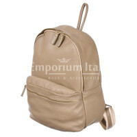 Borsa zaino in vera pelle DELIA REI mod. BERNINA colore BEIGE SCURO Made in Italy.