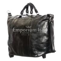 Borsone viaggio in vera pelle MAESTRI mod. BRENTA colore NERO Made in Italy.