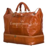 DANUBIO: borsa da viaggio in cuoio, colore: MIELE, Made in Italy
