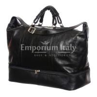 DANUBIO: borsa da viaggio in cuoio, colore: NERO, Made in Italy