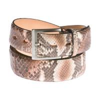 Cintura uomo BEIRUT C27, vera pelle pitone certificato CITES, colore MARRONE, ELIO ZAGATO, Made in Italy
