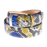Cintura uomo BEIRUT C26, vera pelle pitone certificato CITES, colore GRIGIO/BLU/GIALLO, ELIO ZAGATO, Made in Italy