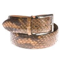 Cintura uomo in vera pelle pitone ELIO ZAGATO mod. BELFAST, certificato CITES, colore MARRONE Made in Italy