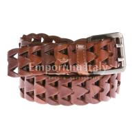 Cintura uomo in vera pelle DELIA REI mod. CHICAGO colore MIELE Made in Italy