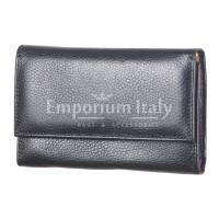 Portafoglio donna in vera pelle tradizionale SANTINI mod. ORTENSIA colore NERO Made in Italy