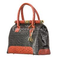Borsa donna in vera pelle CHIARO SCURO mod. LEONA, colore NERO / MIELE, Made in Italy.
