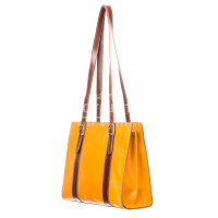 Borsa donna in vera pelle RINO DOLFI mod. MARINA, colore GIALLO / MARRONE, Made in Italy.