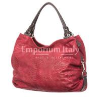 Borsa donna in vera pelle CHIARO SCURO mod. DIVA, colore BORDEAUX, Made in Italy