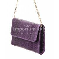 Borsa donna in vera pelle CHIARO SCURO mod. EMILIA, colore VIOLA, Made in Italy.