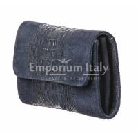 Borsa donna in vera pelle CHIARO SCURO mod. EMILIA, colore BLU, Made in Italy.