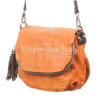 Borsa donna in vera pelle CHIARO SCURO mod. ILARIA, colore ARANCIO, Made in Italy.