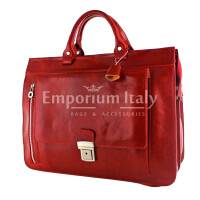EMIDIO XXL: cartella ufficio / borsa lavoro, uomo / donna, in cuoio, colore : ROSSA, Made in Italy