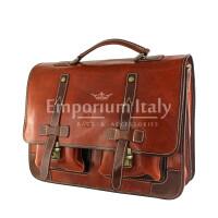 ERNESTO: cartella /borsa, zaino ufficio unisex, in cuoio, colore: MARRONE / TESTA DI MORO, Made in Italy