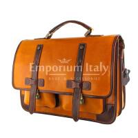 ERNESTO: cartella /borsa, zaino ufficio unisex, in cuoio, colore: MIELE / MARRONE, Made in Italy