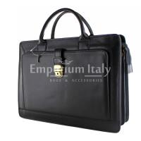 Cartella ufficio / lavoro in vera pelle MAESTRI mod. PATRIZIO colore NERO Made in Italy.