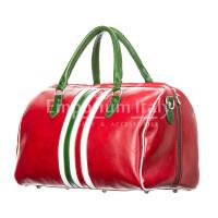 Borsa da viaggio uomo / donna in vera pelle, bandiera tricolore Italiana RINO DOLFI mod. TIMAVO SMALL, colore ROSSO, Made in Italy.