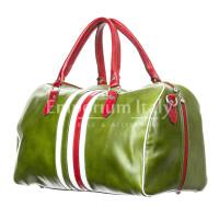 Borsa da viaggio uomo / donna in vera pelle, bandiera tricolore Italiana,  RINO DOLFI mod. TIMAVO SMALL, colore VERDE, Made in Italy.