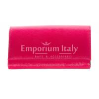 Portafoglio donna in vera pelle tradizionale SANTINI mod ORCHIDEA colore FUCSIA Made in Italy.