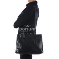 Borsa a spalla da donna in vera pelle MINA SMALL, colore NERO, RINO DOLFI, MADE IN ITALY
