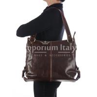 Borsa a spalla da donna in vera pelle ANTONELLA, colore TESTA DI MORO, RINO DOLFI, MADE IN ITALY