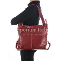 Borsa a spalla da donna in vera pelle ANTONELLA, colore ROSSO, RINO DOLFI, MADE IN ITALY