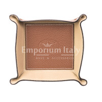 Porta oggetti uomo / donna in pelle EMPORIO TITANO mod HARRY, colore MARRONE / BEIGE, Made in Italy.