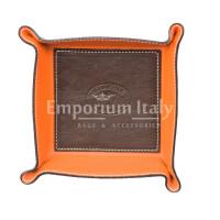 Porta oggetti uomo / donna in pelle EMPORIO TITANO mod HARRY, colore TESTA DI MORO / ARANCIO, Made in Italy.