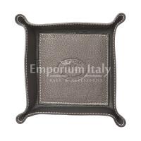 Porta oggetti uomo / donna in pelle EMPORIO TITANO mod HARRY, colore TESTA DI MORO / NERO, Made in Italy.