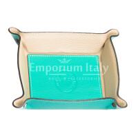 Porta oggetti uomo / donna in pelle EMPORIO TITANO mod HARRY, colore TURCHESE / BEIGE, Made in Italy.